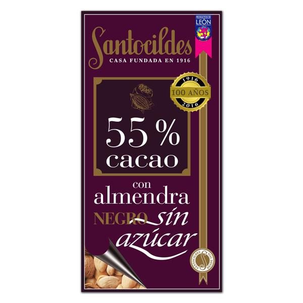 Chocolate Negro 55% Cacao con Almendras y sin Azúcar 200 grs