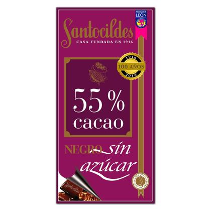 Chocolate Negro 55% Cacao Sin Azúcar 200 grs