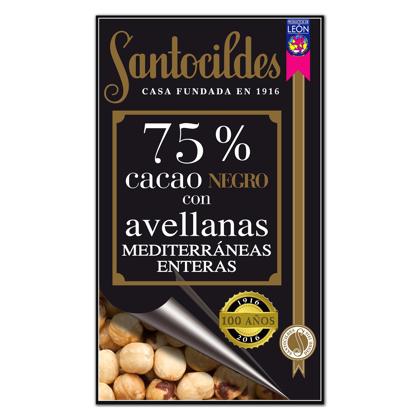 Chocolate Negro 75% Cacao con Avellanas Mediterráneas enteras 200 grs