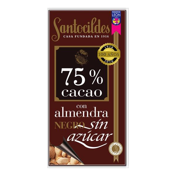Chocolate Negro 75% Cacao con Almendras y sin Azúcar 200 grs