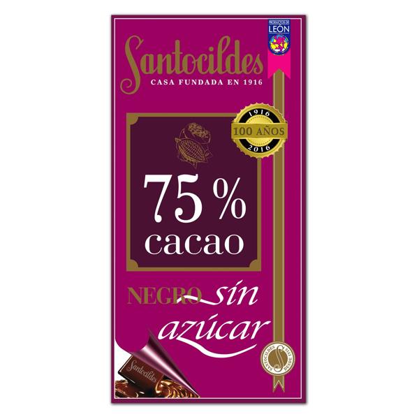 Chocolate Negro 75% Cacao Sin Azúcar 200 grs
