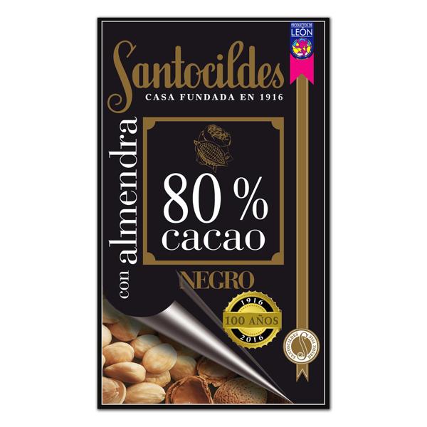 Chocolate Negro 80% Cacao con Almendras 200 grs