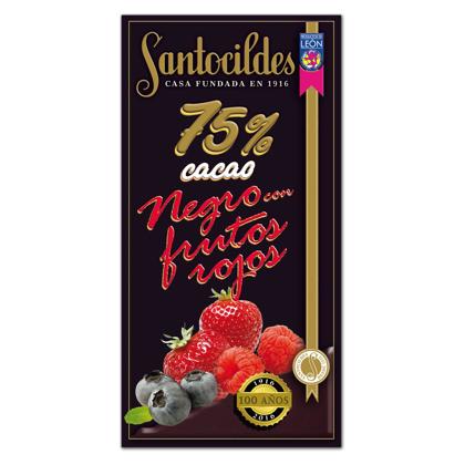 Chocolate Negro 75% Cacao con Frutos Rojos 150 grs