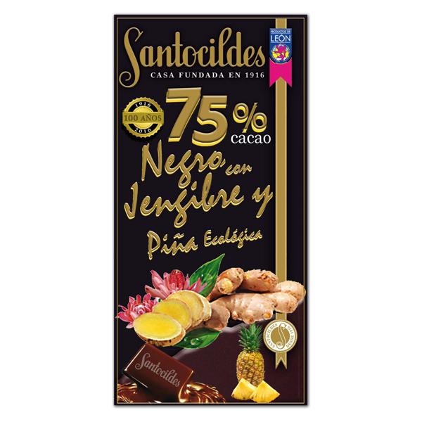 Chocolate Negro 75% Cacao con Jengibre y Piña Ecológica 150 grs